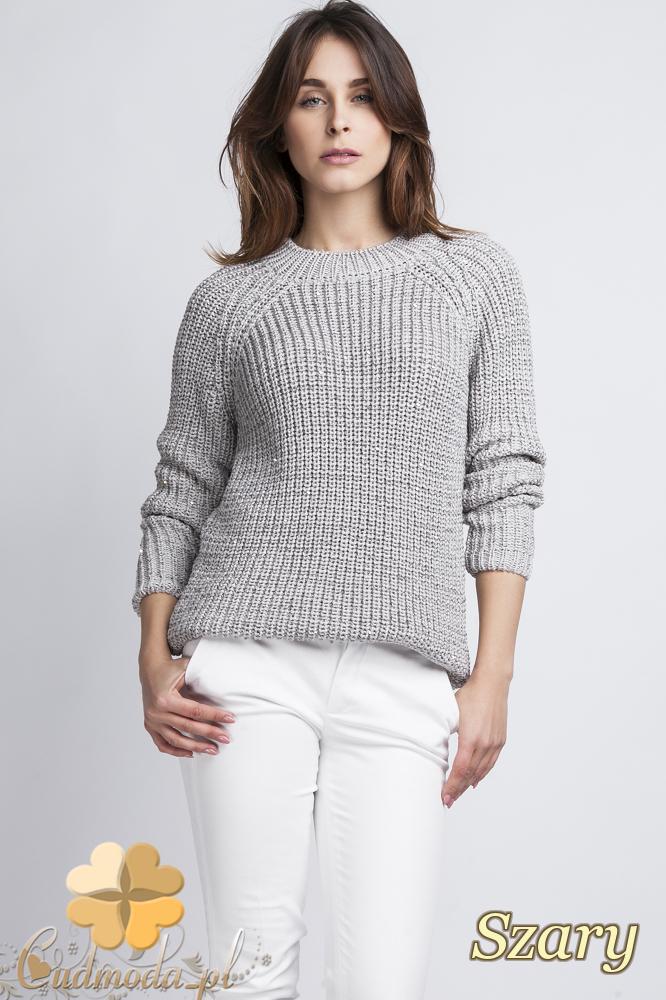 CM2435 Klasyczny luźny sweter damski - szary