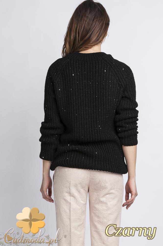 CM2435 Klasyczny luźny sweter damski - czarny