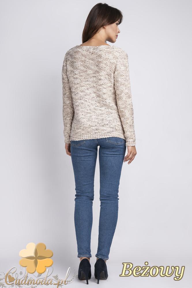 CM2441 Klasyczny prosty sweter - beżowy