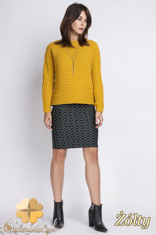 CM2442 Klasyczny sweter z długim rękawem - żółty