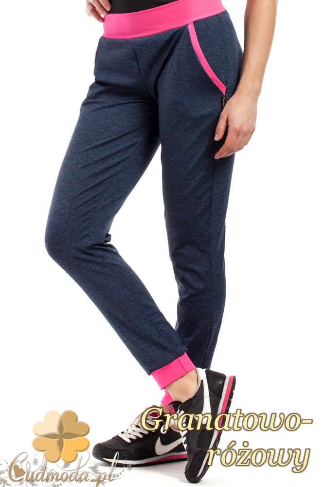 CM1853 Dresowe sportowe spodnie damskie - granatowo-różowe