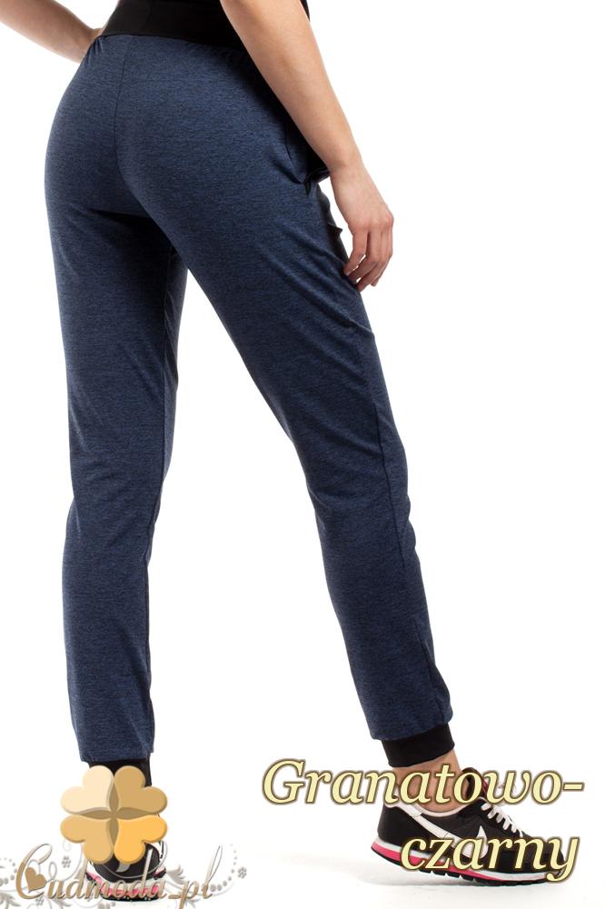 CM1853 Dresowe sportowe spodnie damskie - granatowo-czarne