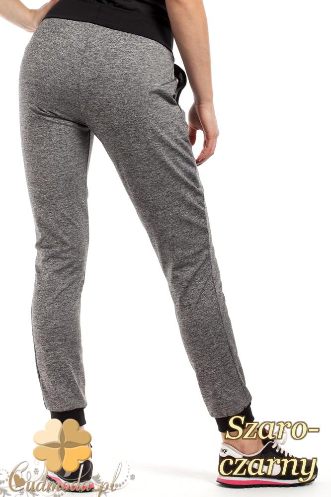CM1853 Dresowe sportowe spodnie damskie - szaro-czarne