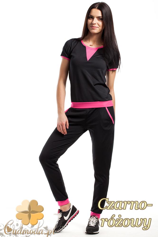 CM1853 Dresowe sportowe spodnie damskie - czarno-różowe
