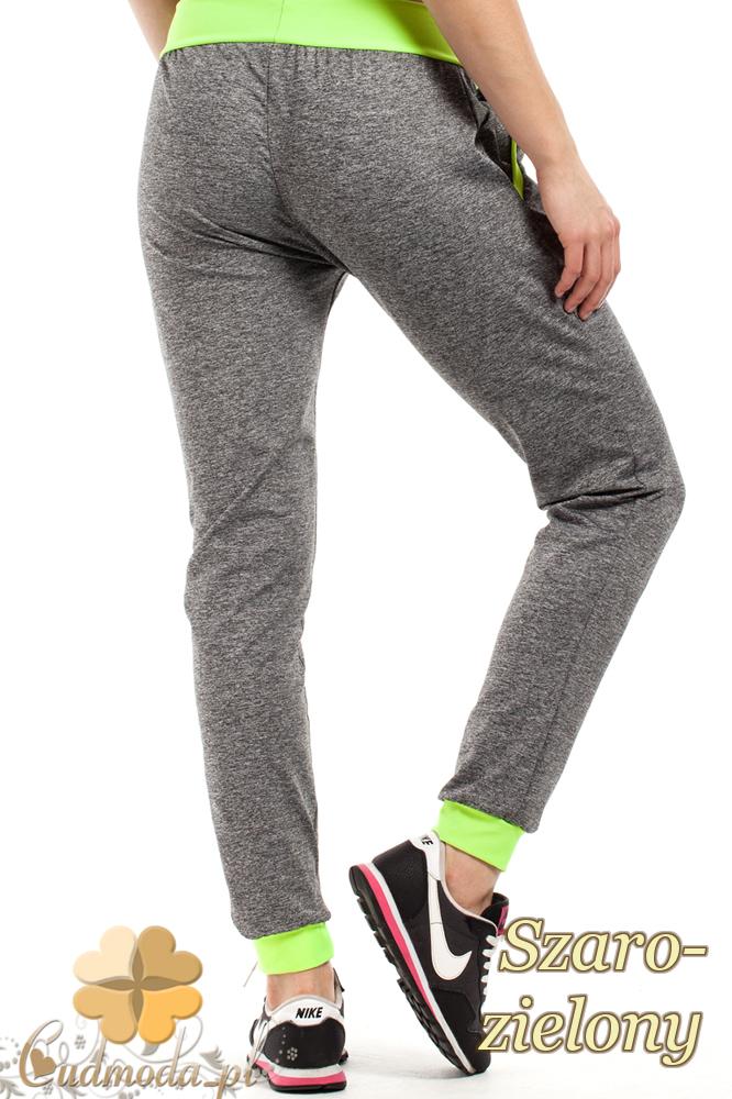 CM1853 Dresowe sportowe spodnie damskie - szaro-zielone
