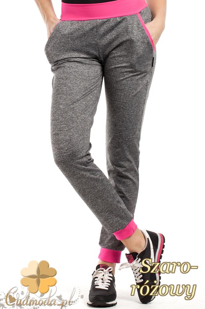 CM1853 Dresowe sportowe spodnie damskie - szaro-różowe