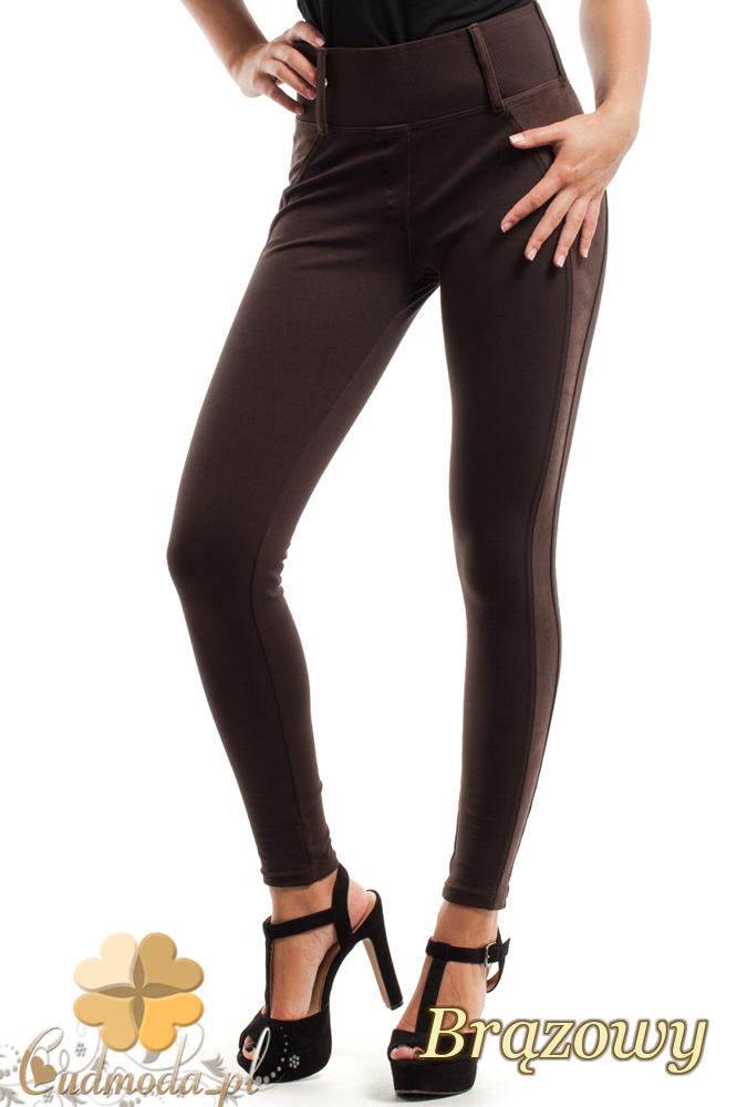 CM2443 Szykowne spodnie z zamszową wstawką - brązowe