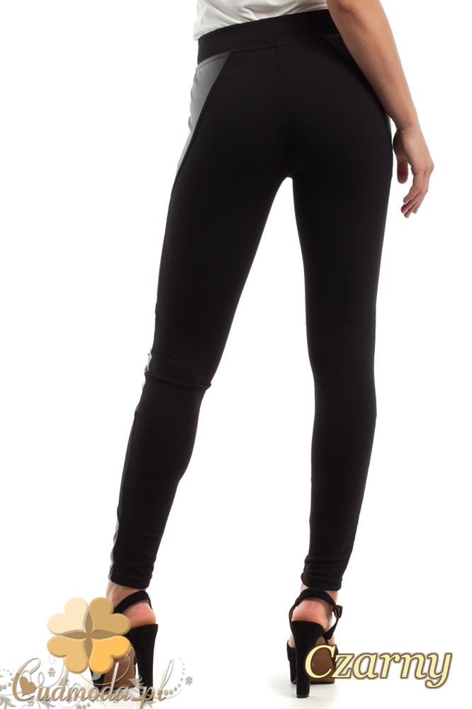 CM2444 Elastyczne legginsy ze skórzanymi wstawkami i zamkami - czarne