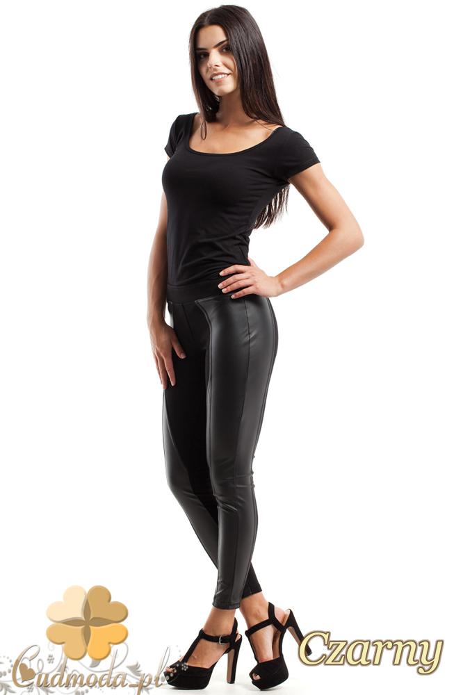 CM2445 Eleganckie legginsy ze skórzanymi pasami - czarne