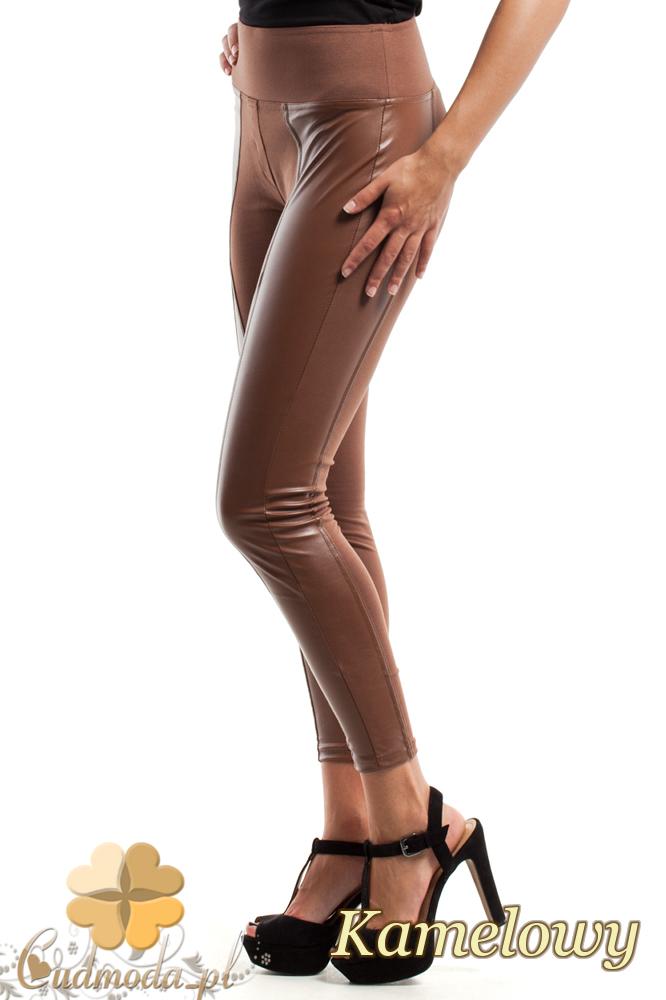CM2446 Wyszczuplające legginsy ze skórzanymi pasami - kamelowe