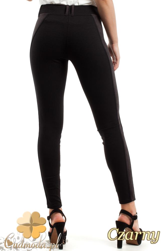 CM2447 Dopasowane legginsy z zamszową wstawką - czarne