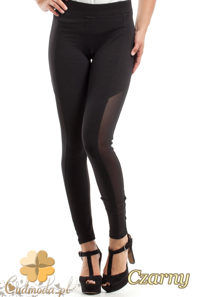 CM2448 Stylowe legginsy z czarną wstawką - czarne