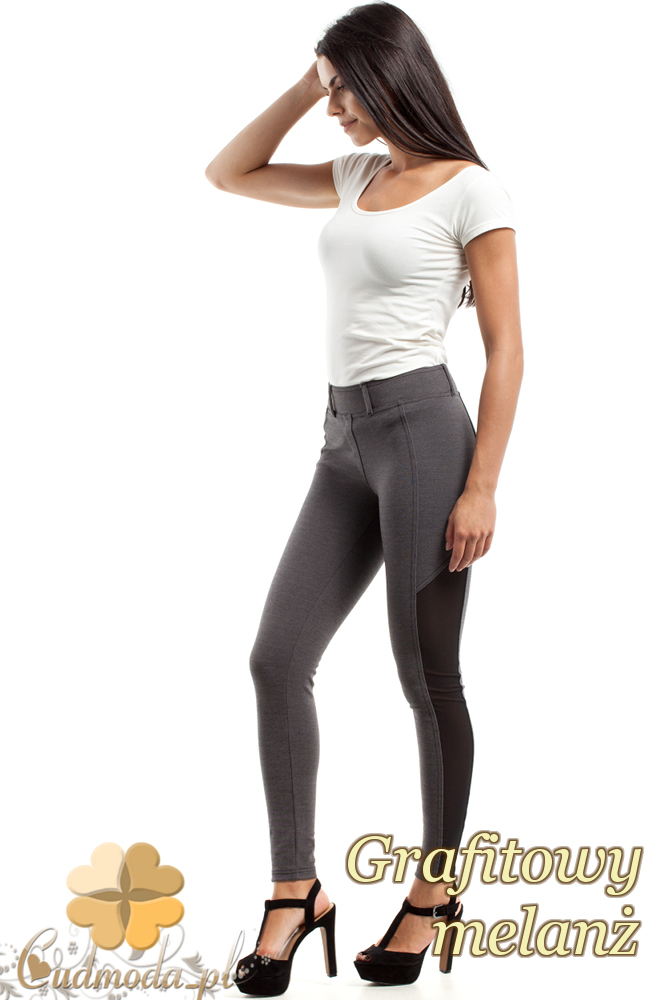 CM2448 Stylowe legginsy z czarną wstawką - grafitowy-melanż
