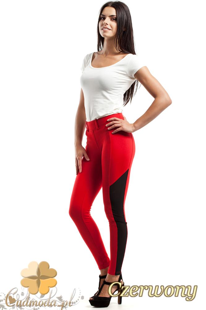 CM2448 Stylowe legginsy z czarną wstawką - czerwone