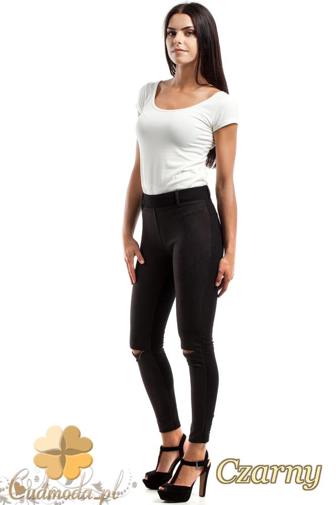 CM2449 Zamszowe legginsy z przeszyciami i zamkami - czarne