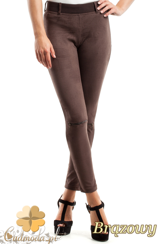 CM2449 Zamszowe legginsy z przeszyciami i zamkami - brązowe