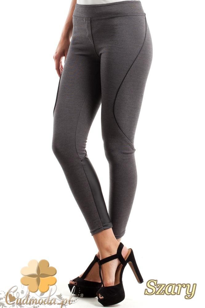 CM2468 Wyszczuplające legginsy ze skórzaną wstawką i przeszyciami - szare