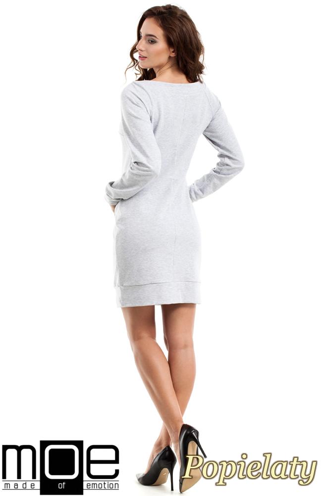 CM2463 Taliowana sukienka kangurka - popielata