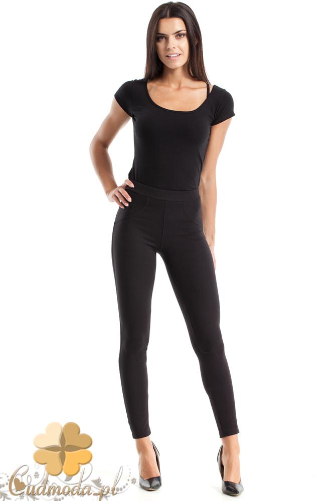 CM2482 Gładkie spodnie rurki - czarne