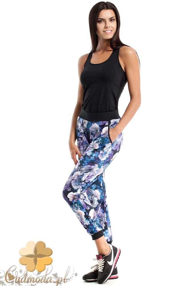 CM2486 Luźne sportowe spodnie w kwiaty