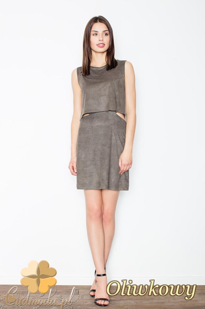 CM2494 Sukienka mini z zamszu bez rękawów - oliwkowa