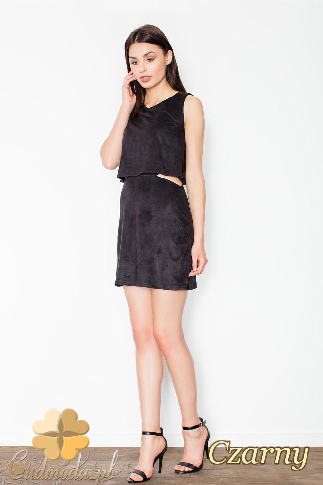 CM2494 Sukienka mini z zamszu bez rękawów - czarna