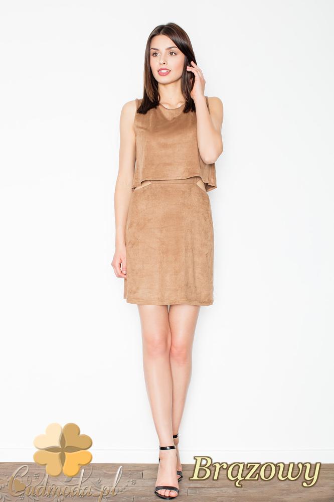 CM2494 Sukienka mini z zamszu bez rękawów - brązowa