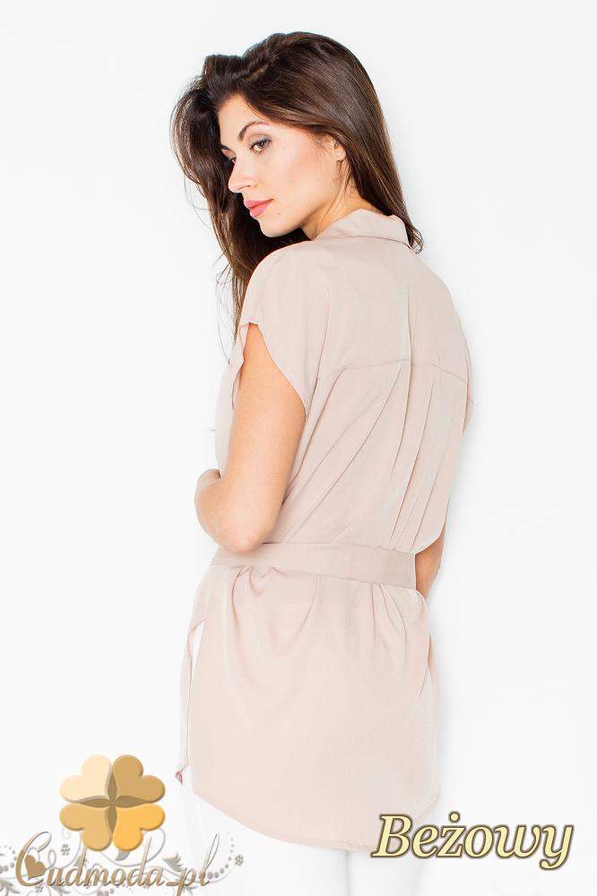 CM2496 Koszula damska wiązana w pasie zapinana na napy - beżowa