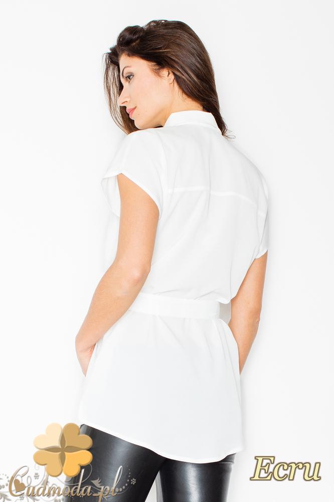 CM2496 Koszula damska wiązana w pasie zapinana na napy - ecru
