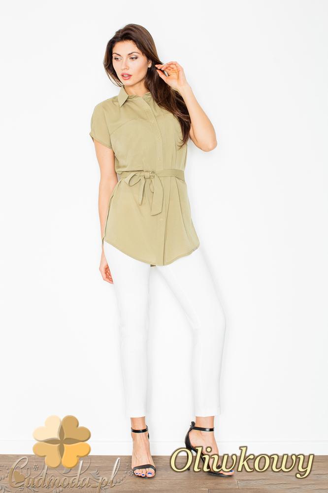 CM2496 Koszula damska wiązana w pasie zapinana na napy - oliwkowa