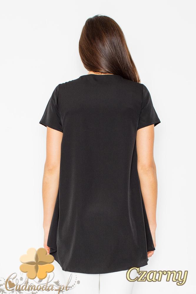 CM2497 Asymetryczna zwiewna bluzka z wydłużonym tyłem - czarna