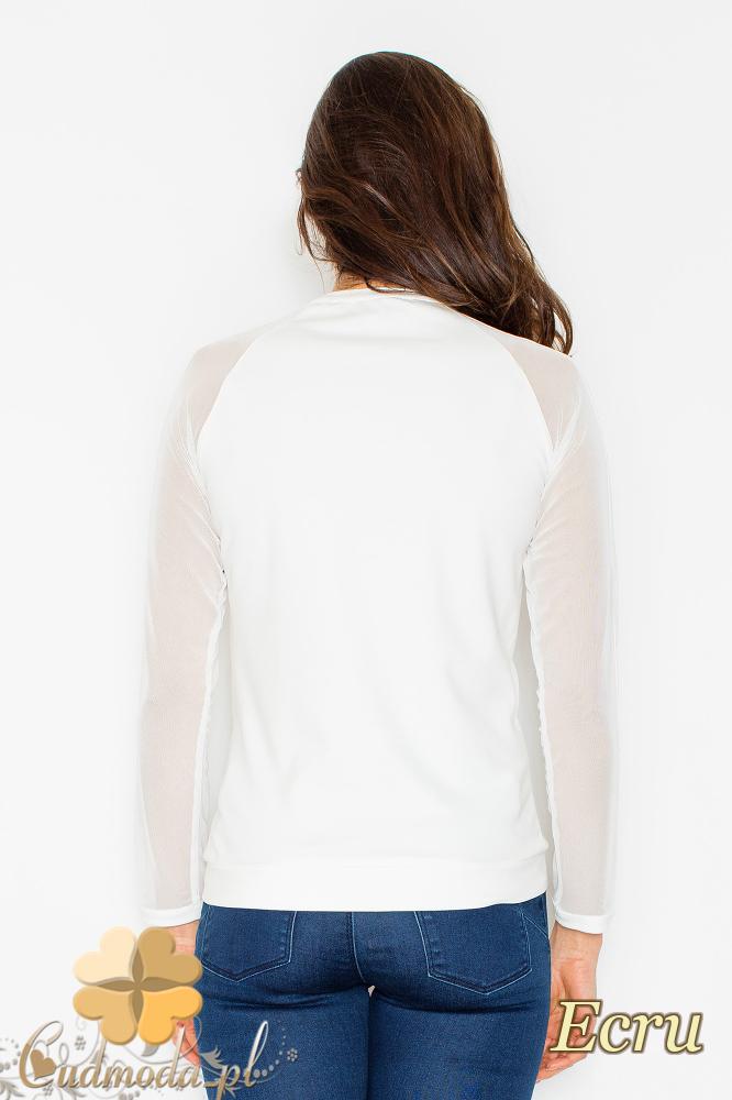 CM2498 Bluzka damska z długimi szyfonowymi rękawami - ecru