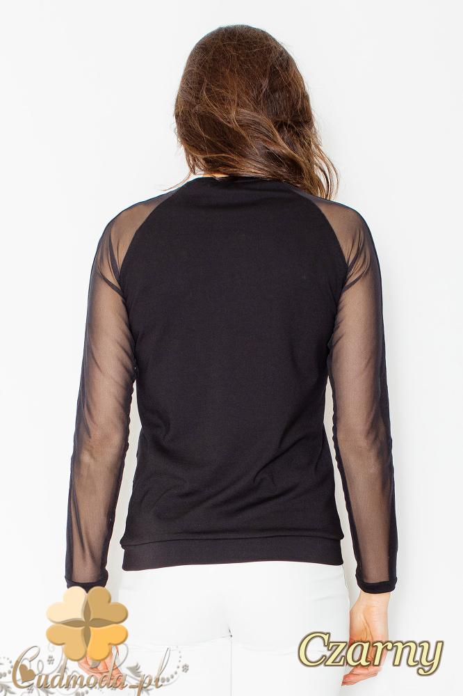 CM2498 Bluzka damska z długimi szyfonowymi rękawami - czarna