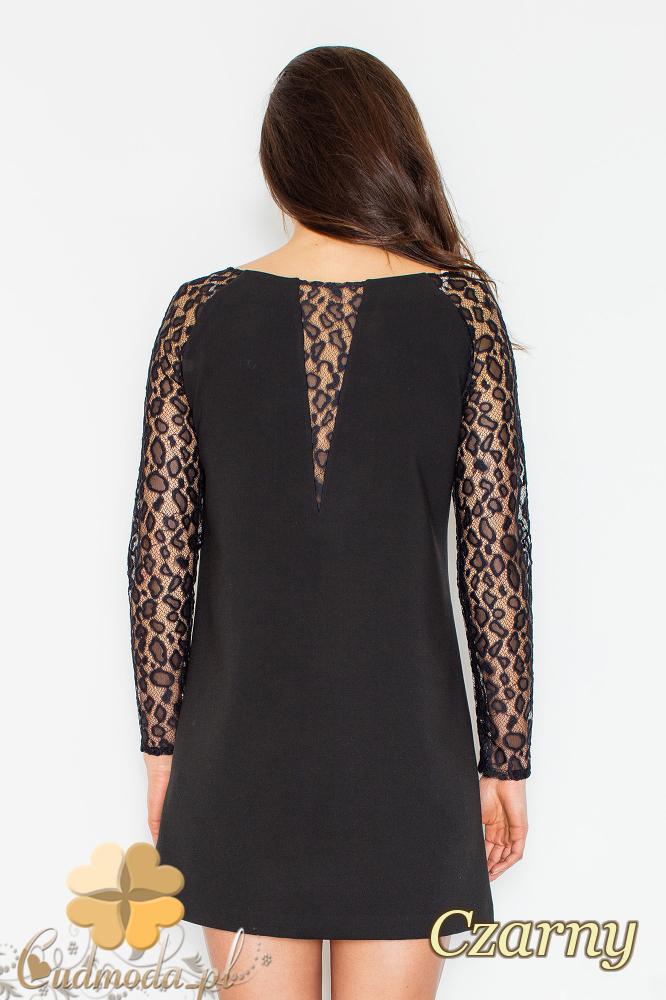 CM2499 Trapezowa sukienka z długim koronkowym rękawem - czarna
