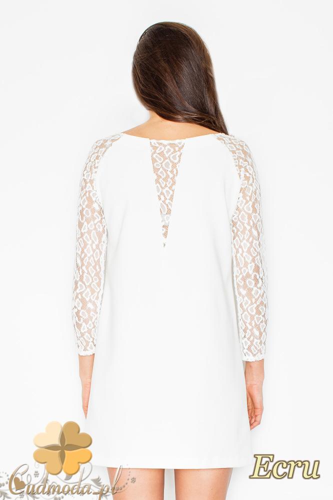 CM2499 Trapezowa sukienka z długim koronkowym rękawem - ecru