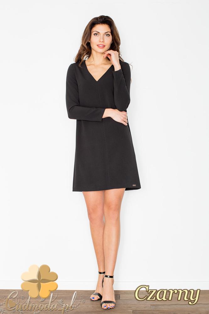 CM2500 Trapezowa sukienka z dekoltem typu serek i długimi rękawami - czarna
