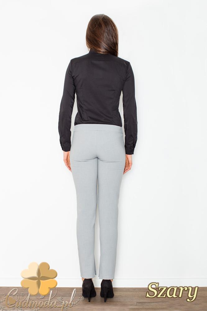 CM2502 Spodnie rurki damskie z rozcięciami na dole nogawki - szare