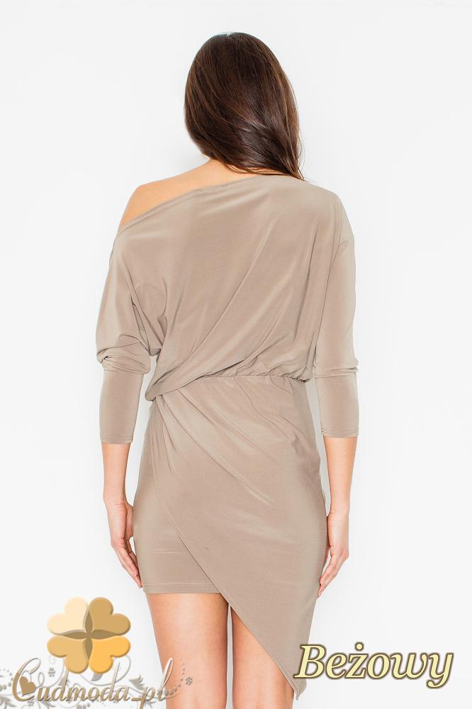CM2503 Sukienka mini z dekoltem odsłaniającym ramię - beżowa