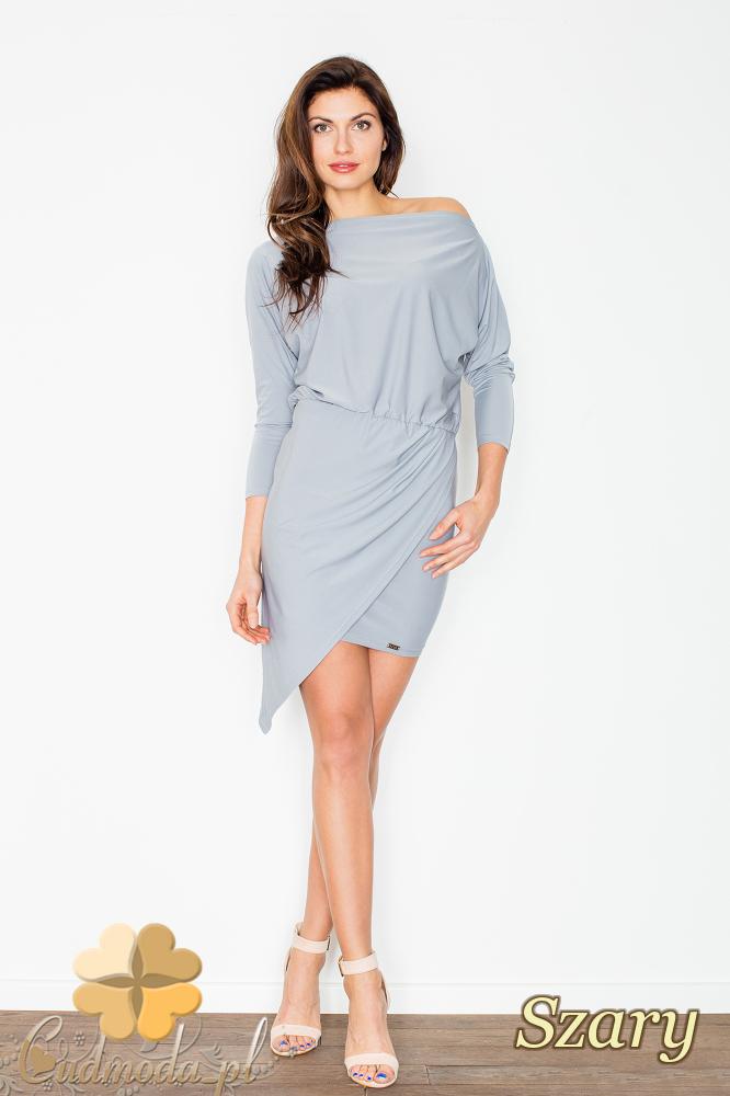 CM2503 Sukienka mini z dekoltem odsłaniającym ramię - szara