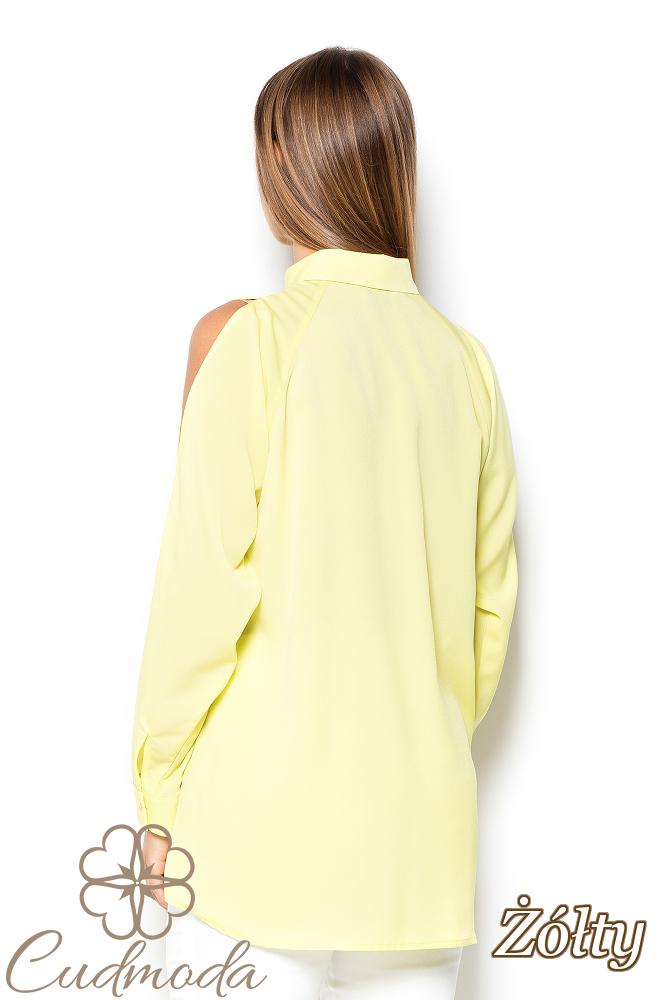 CM2504 Koszula damska z rozcięciami na ramionach - żółta