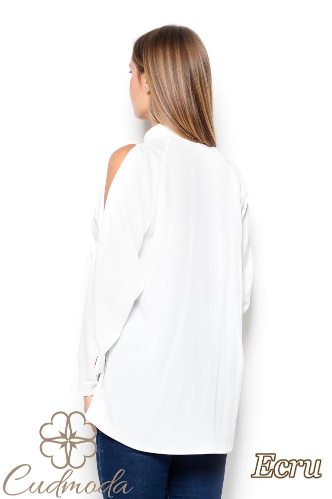 CM2504 Koszula damska z rozcięciami na ramionach - ecru