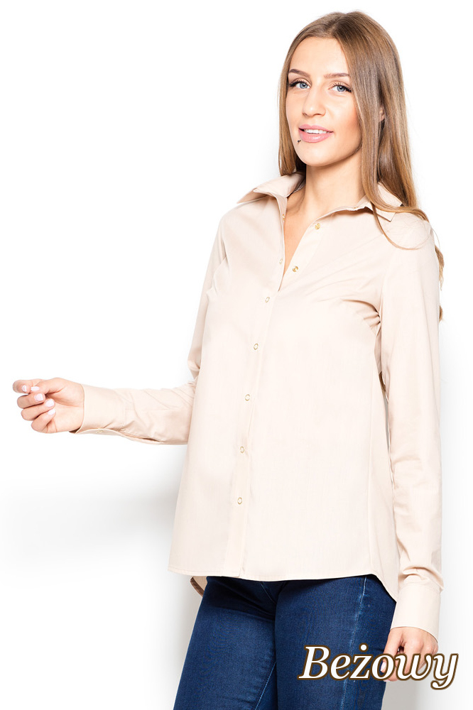CM2505 Koszula damska z dłuższym tyłem i frakowym rozcięciem - beżowa