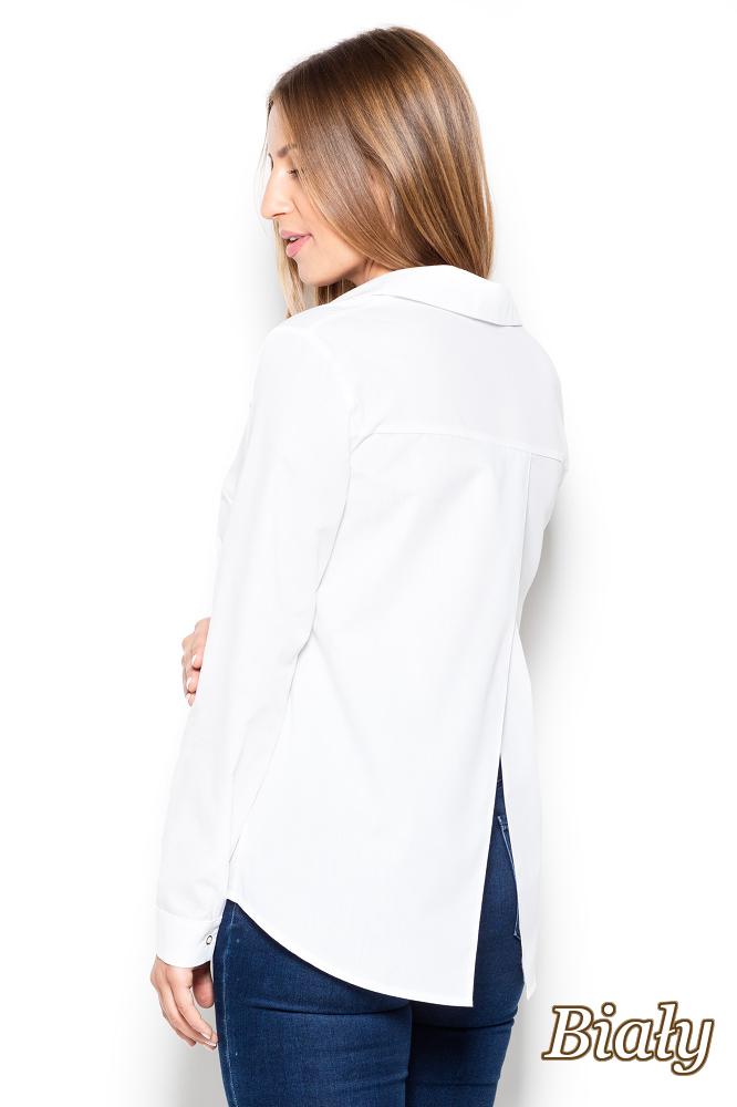 CM2505 Koszula damska z dłuższym tyłem i frakowym rozcięciem - biała