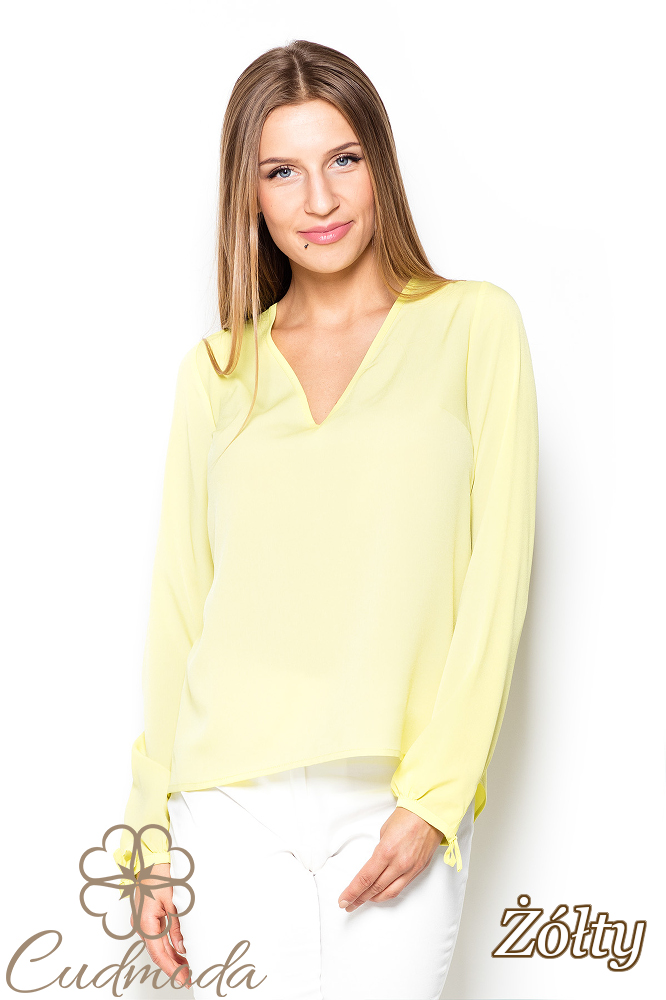 CM2506 Nowoczesna bluzka z efektownym wiązaniem na plecach - żółta