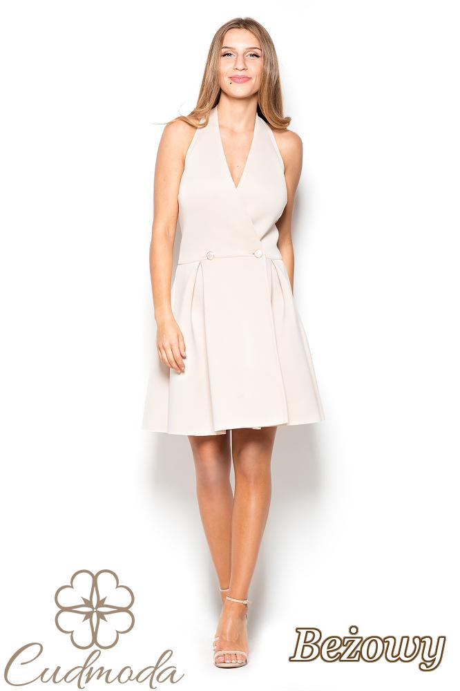 CM2507 Piankowa sukienka w kontrafałdy - beżowa
