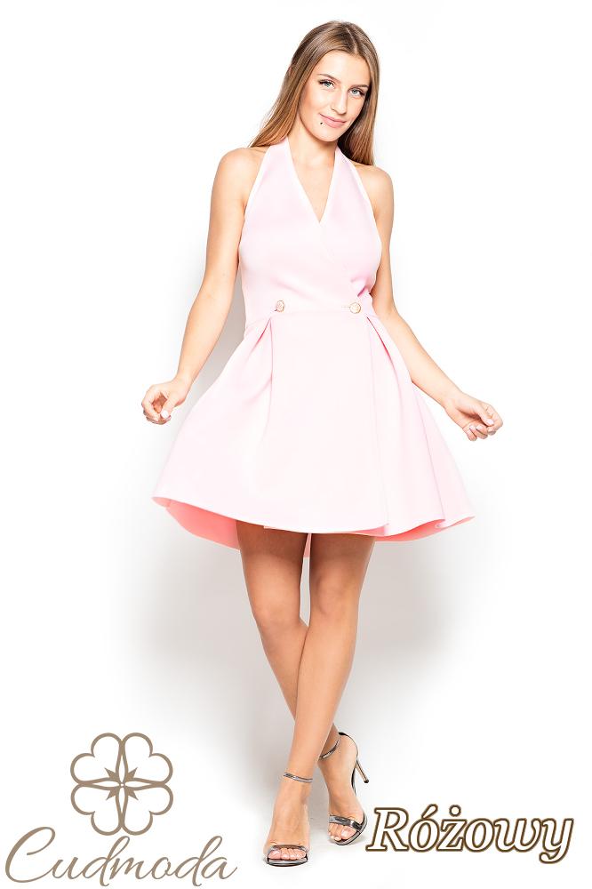 CM2507 Piankowa sukienka w kontrafałdy - różowa