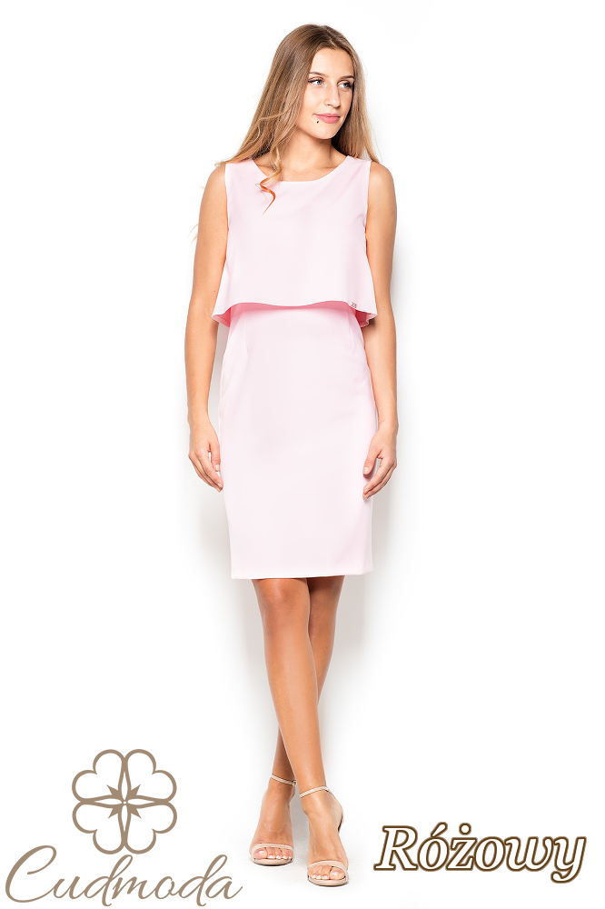 CM2509 Dopasowana sukienka mini bez rękawów - różowa
