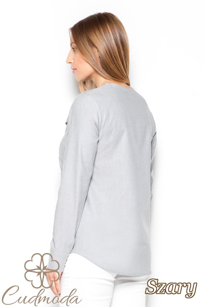 CM2512 Delikatnie taliowana koszula z przeszyciami - szara