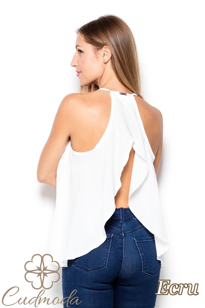 CM2513 Nowoczesna bluzka z falbanką na plecach - ecru