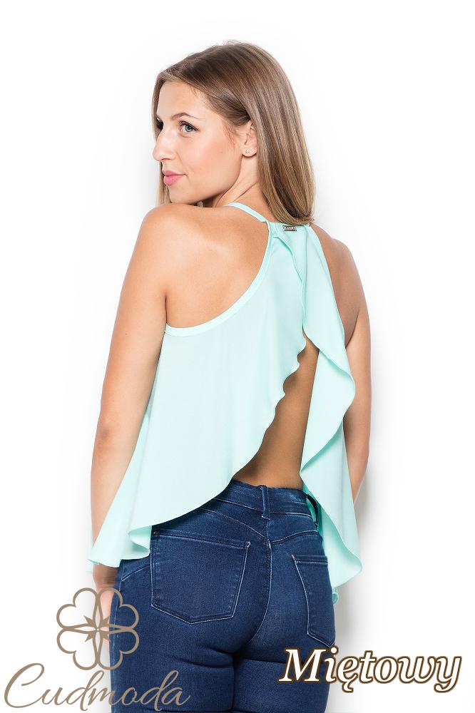CM2513 Nowoczesna bluzka z falbanką na plecach - miętowa